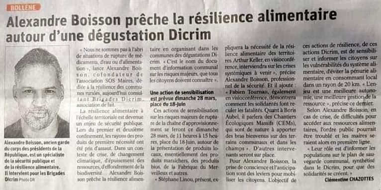 Article : Alexandre Boisson prêche la résilience alimentaire autour d'une dégustation DICRIM