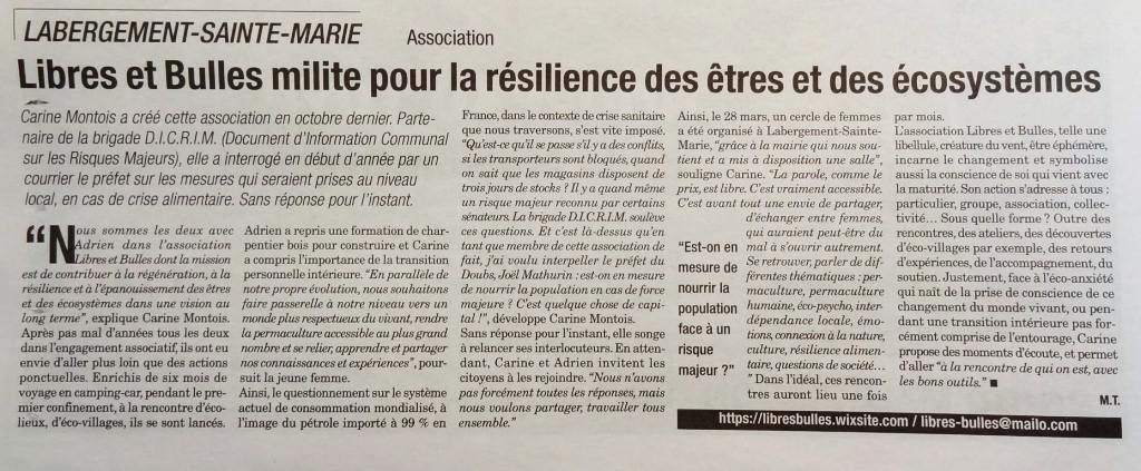 Article : Libres et Bulles milite pour la résilience des êtres et des écosystèmes
