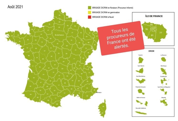 Carte de France du déploiement de l'action Brigade DICRIM 08/2021